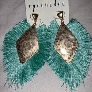 Turquoise & Hammered Bronze Earrings, New